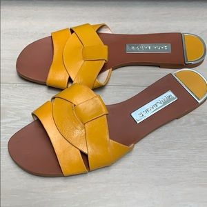 Zara yellow leather sandals